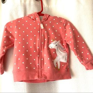 Carter's Polka Dot Zip Up Hoodie Jacket 12 months